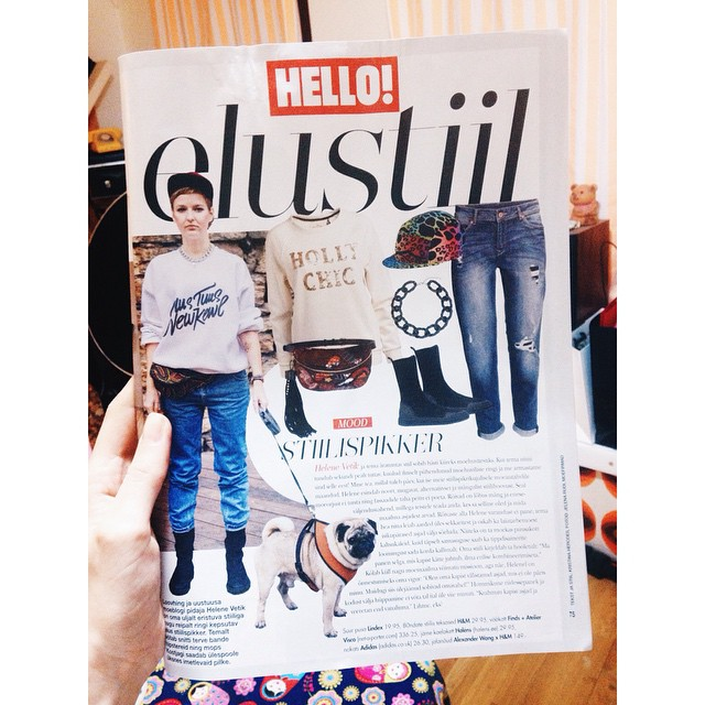 My style replayed in the new Hello! Magazine, chubby dog baby trying to escape from the spread :D #hellomagazine #kostja_pug #uustuus #newkewl #helenevetik