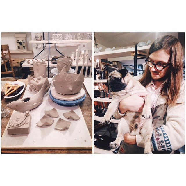 The way Kostja looked at the ceramics we created at Hmmm studio christmas hangout is pure precious. #hmmmstudio #ceramics #kostja_pug