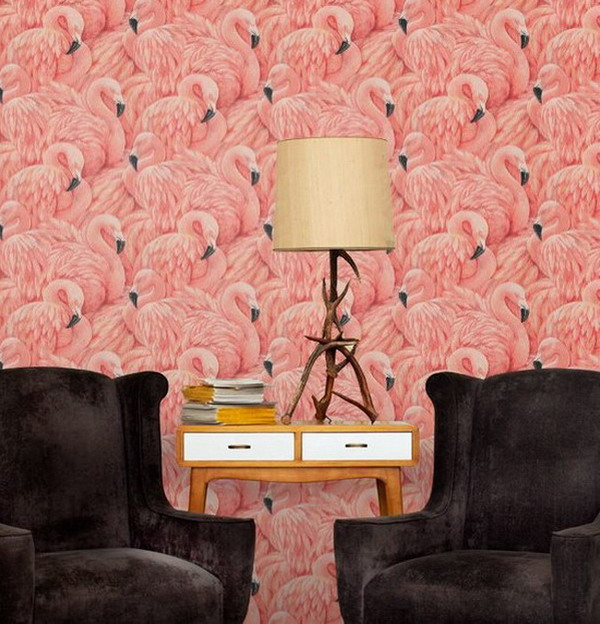 Nice-Flamingo-Wallpaper-Murals-Painted-Ideas-for-Traditional-Living ...