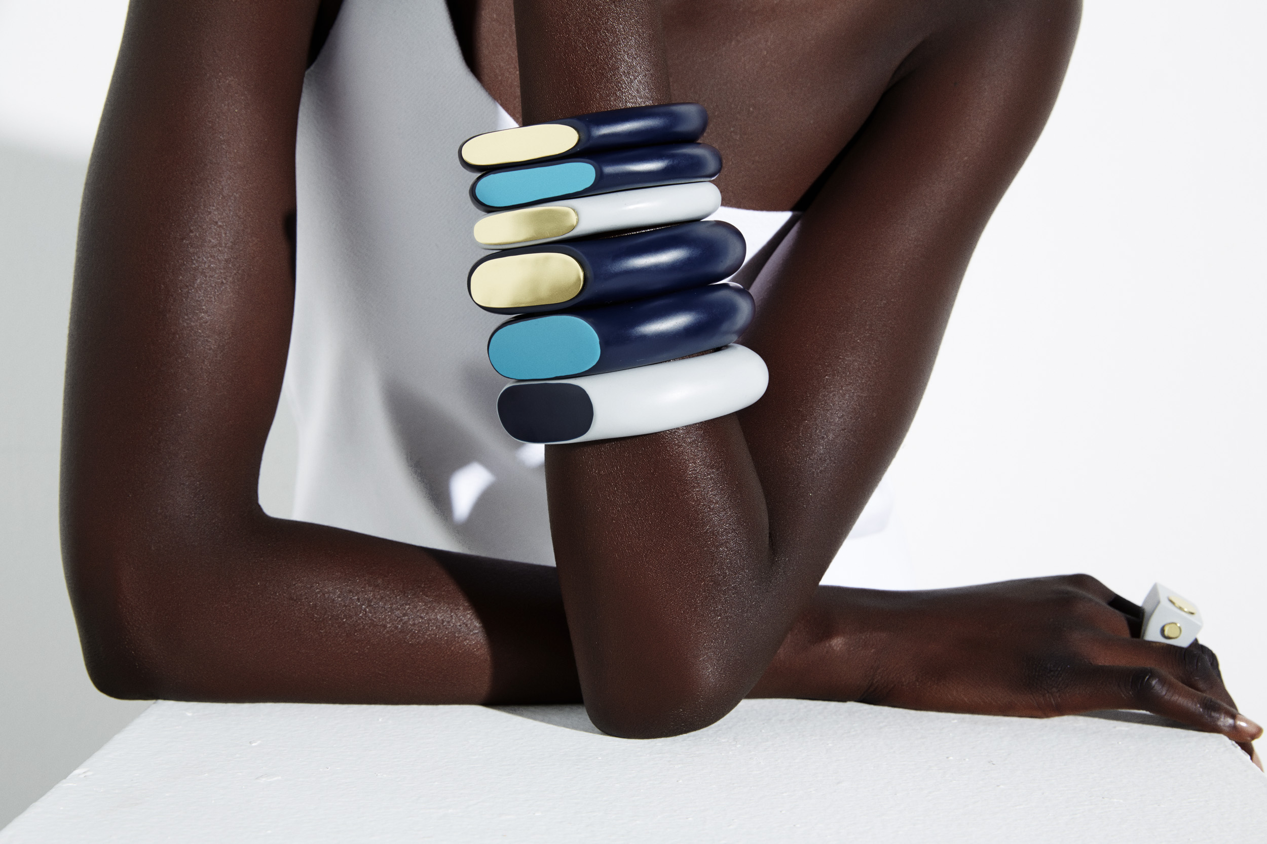 dinosaur-designs_colour-block_jewellery_blue-and-grey-bangle-stack